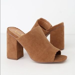NEW LuLu's Light Brown Corduroy Peep-Toe Mules